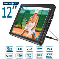 12'' 12V 1080P Portable TFT HDMI VGA TV Television Digital Analog AC/DC DOLBY