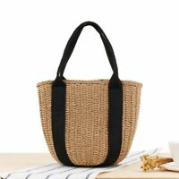 Women Handbag Casual Rattan Wicker Woven Beach Totes Straw Buckets Shoulder Bags