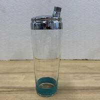 VINTAGE MCM Mid Century Blue Teal Strip GLASS COCKTAIL SHAKER LID w/STRAINER