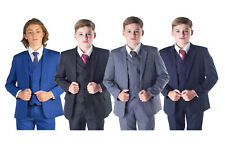 71d9b7a0f Boys Suits 5 Piece Wedding Page Boy Party Prom Suit Blue Black Grey Baby-14