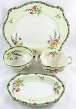 4 FINE SERVING PIECES VINTAGE JOHNSON BROS PAREEK ONTWOOD CHINA GOLD FLORAL GILT