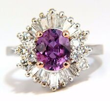 $11000 GIA 2.54CT NATURAL NO HEAT VIVID PURPLE PINK SAPPHIRE DIAMOND RING 18KT