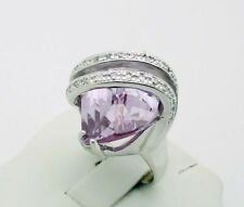 STUNNING!!! QVC Purple & White CZ Heavy Ring in Sterling Silver Size 5.75