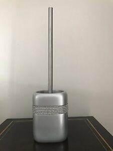 Silver Diamante Bathroom Toilet Brush Set