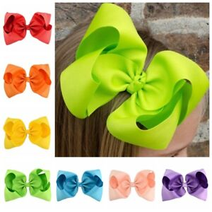 20 Pcs 6 inch Baby Girls Huge Grosgrain Ribbon Boutique Hair Bows Kids Hair Clip
