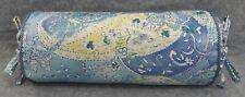 Corded Bolster Pillow made w Ralph Lauren Jamaica Blue & Yellow Paisley Fabric