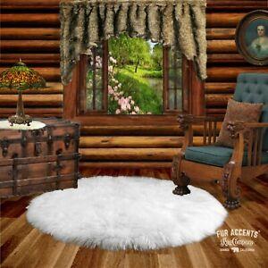 Plush Round Shag Area Rug White Faux Fur Sheepskin Shabby Chic All Sizes