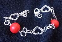 Bracelet argent corail rouge naturel coeur 160x10x10mm