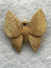 Vintage  Signed Trifari  Textured Goldtone Metal Butterfly Brooch Pin HTF