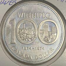 1974 CANADA WINNIPEG CENTENNIAL SILVER DOLLAR CAMEO COIN