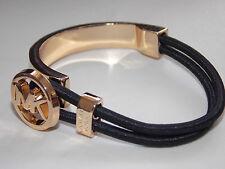 Women Charm Personalized letters M @ K Alloy Pendant Leather Bracelet Black