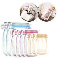 10 Pcs PE Reusable Zip Lock Bag Stand Up Food Storage Pouch Mason Jar Zipper