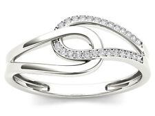 Natural 10k White Gold 0.08 Ct Rond Cut Diamond Interlock Fashion Ring HI I2