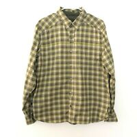 Prana L Large Long Sleeve Button Front Collared Plaid Shirt Green Hiking