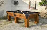 Ranch 9' size Hand-Crafted Rustic Log Pool Table Billiard for Log Home / Cabin
