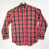 Wrangler Mens Pearl Snap Adult Large Red Black Plaid Western Cowboy Shirt  LNC