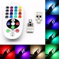 2xMulti Color T10 6SMD RGB LED Car Dome Reading Light Lamp Bulb+Remote Control