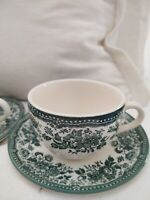 Set 7 cups & saucers CLAYTAN TABLEWARE  MALAYSIA, GREEN AND WHITE VINE DESIGN
