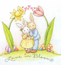 Love In Bloom Easter Bunny Couple-Handcrafted Magnet-W/Mary Engelbreit art