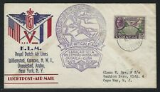1943 Netherlands Antilles Censored KLM FFC - Willemstad, Curacao to New York