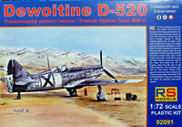 Dewoitine D-520 French WWII Fighter Decals Italiane - RS Models Kit 1:72 92106