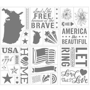 "PATRIOTIC Theme - 6 Sheets Darice Adhesive Stencils 6"" x 8"" USA 30092527"