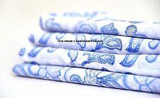 Blue & White Hand Block Print Kalamkari Traditional India,Cotton Fabric 10 Yard