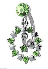 Belly Ring Top Down Circle of Stars w/Green Gems Dangle Naval Steel Body Jewelry