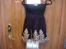 NWT SHORT STRAPLESS COCKTAIL PARTY HOMECOMING DRESS SIZE SMALL BLACK W GOLD