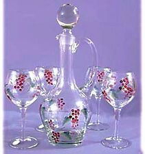 Hand painted glass five piece wine set