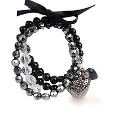 4 Reihiges Damen Armband Multilayer BOHO mit Herz Perlen Schwarz Silber Neu 247