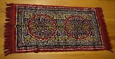 Vibrant Moroccan Rug Carpet w/ Fringe Colorful Cotton Rayon Red 20.5 x 37