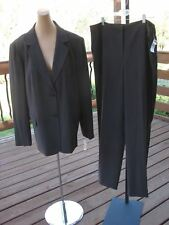 NWT $316 TALBOTS Dark Brown Career Flat Front Pant Suit 18