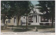 Wilmington, Vermont, Early View of Pettee Library, Soldiers' Monument & Fountain