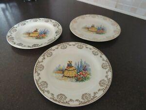 3 x vintage china plates - Crinoline Lady