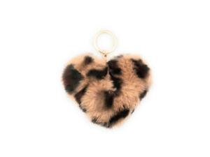 "4"" Faux Fur Heart Shaped Animal Print Pom Keychain ~ NEW!"
