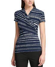 DKNY Women's Blouse Navy Blue Size XL Surplice Gathered Stripe Print $49 #030