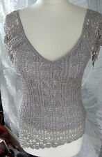 COAST Silver Grey Crochet With Sequins & Beads Fully Lined Top Size Medium