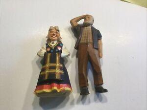 """vintage black forest 4 3/4"""" & 5 1/2"""" carved wooden figures #710"""
