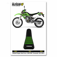 2004-2007 KAWASAKI KLX 250 S ALL Black WITH GREEN RIBS SEAT COVER BY Enjoy MFG