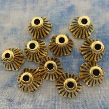 Antique Gold Alloy Metal Bell Flower Bead Caps 20 Pieces 9.3mm  #0204