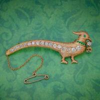 ANTIQUE EDWARDIAN PHEASANT BROOCH DIAMOND EMERALD 18CT GOLD CIRCA 1910