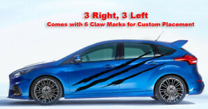 Claw Slash Marks Racing Stripes 6 Vinyl Decals - Fits Ford Focus ST RS 2010-15