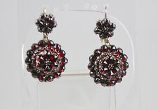 Antique Victorian 14K Gold Bohemian Garnet Drop Earrings Lovely Sparkle  RARE