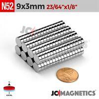 """25 50 100pc 9mm x 3mm 23/64 x 1/8"""" N52 Strong Rare Earth Neodymium Magnet Disc"""