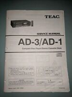 Teac AD-3/AD-1 Compact Disc Player Stereo Cassette Deck Service Manual