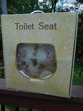 NIP Jewel Clear Resin Round Toilet Seat Clear Seashells Beach Ocean Seahorse
