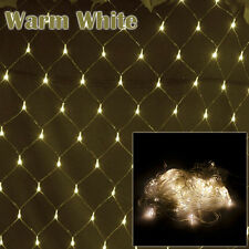 Warm White LED Bulbs Net Curtain Window Mesh Outdoor Indoor Xmas Fairy Lights