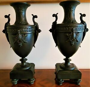 A Pair of Resin Bronze Effect oviform Vases in a 19th century French Manner.