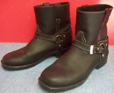 Durango Black Motorcycle Boots Sz 11D White Stitching Silver Hdw Rubber Soles